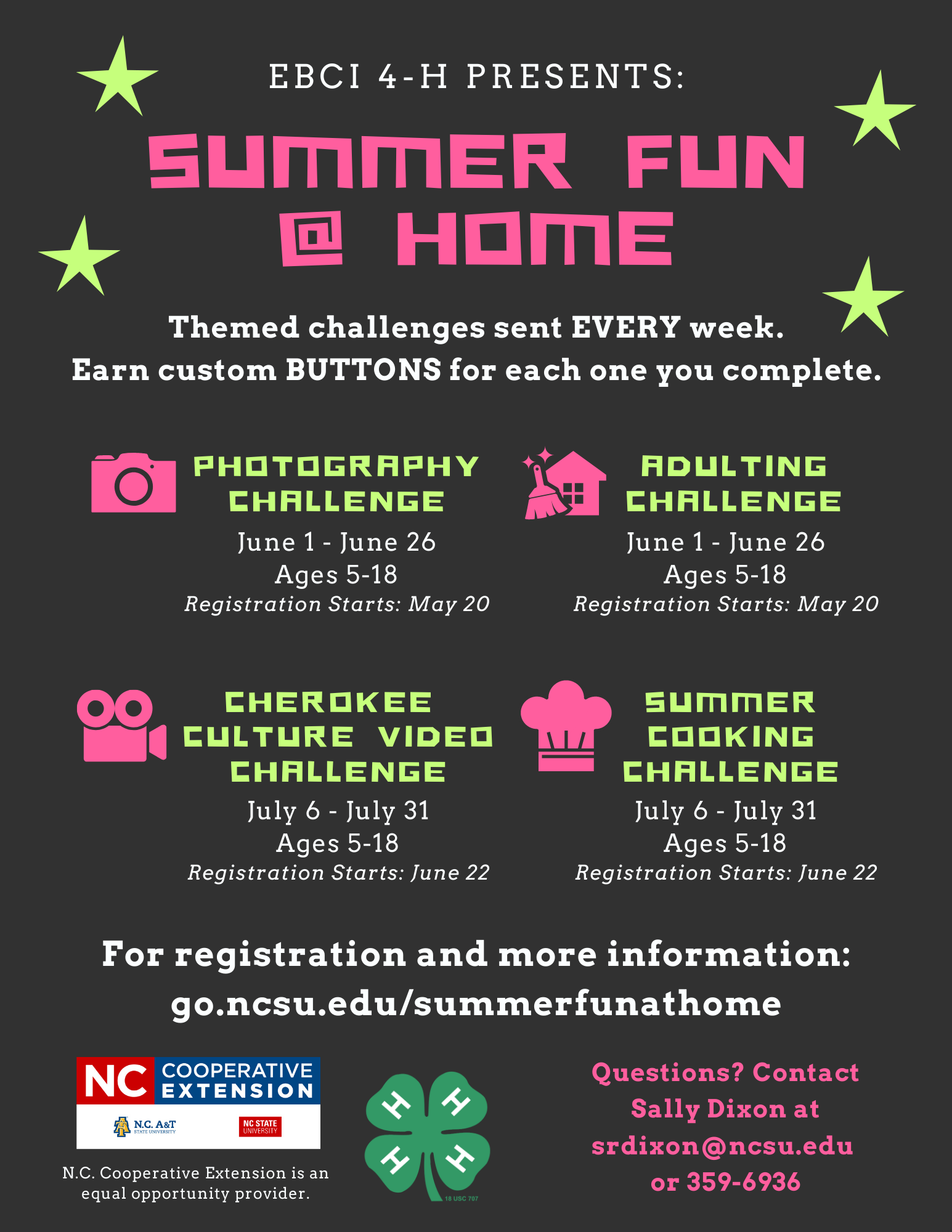 Summer Fun at Home Schedule