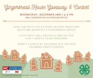 Cover photo for 4-H Gingerbread House Kit Giveaway and Contest Information