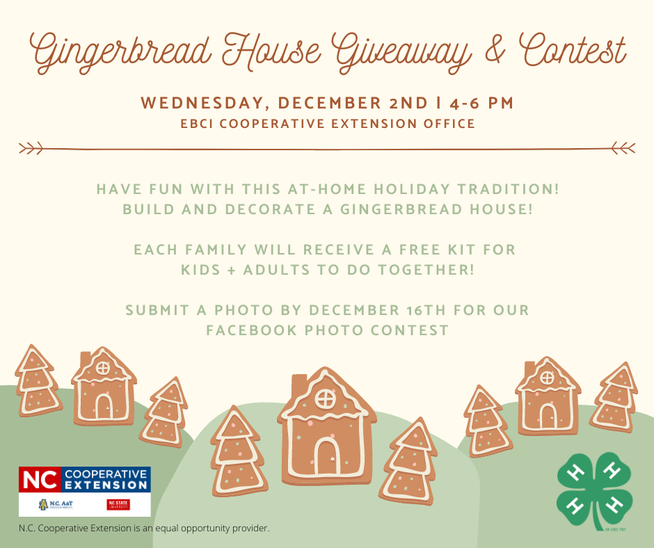 This is the promotional photo or flyer for our Gingerbread House Giveaway and Contest