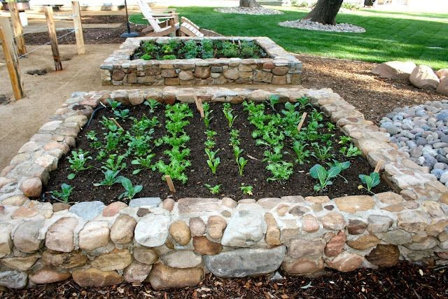 Example of a stone built raised bed