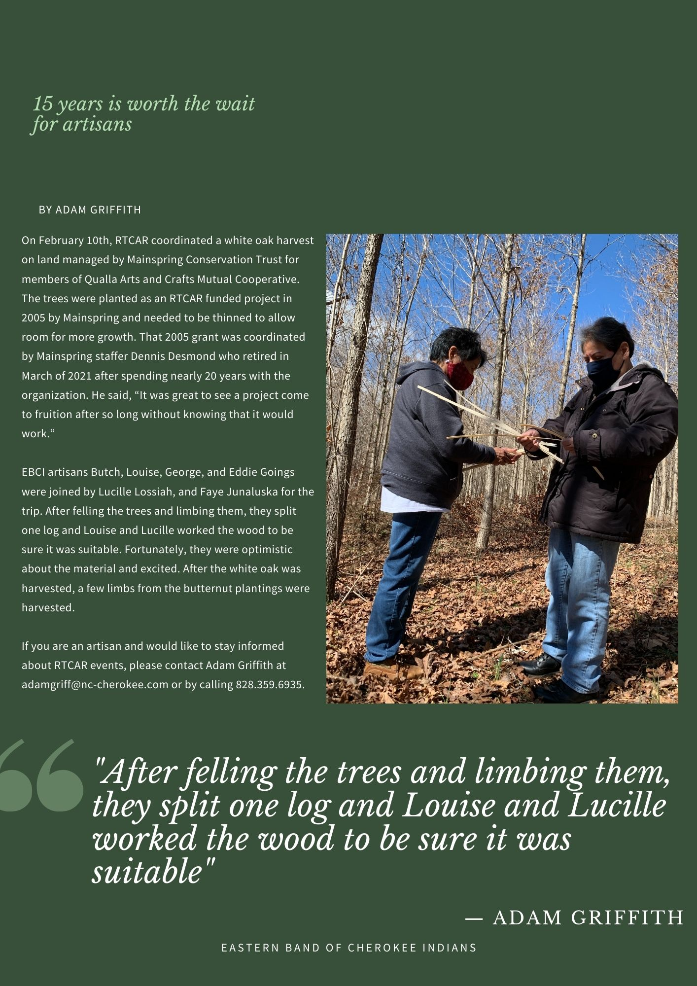 """On February 10th, RTCAR coordinated a white oak harvest on land managed by Mainspring Conservation Trust for members of Qualla Arts and Crafts Mutual Cooperative. The trees were planted as an RTCAR funded project in 2005 by Mainspring and needed to be thinned to allow room for more growth. That 2005 grant was coordinated by Mainspring staffer Dennis Desmond who retired in March of 2021 after spending nearly 20 years with the organization. He said, """"It was great to see a project come to fruition after so long without knowing that it would work."""" EBCI artisans Butch, Louise, George, and Eddie Goings were joined by Lucille Lossiah, and Faye Junaluska for the trip. After felling the trees and limbing them, they split one log and Louise and Lucille worked the wood to be sure it was suitable. Fortunately, they were optimistic about the material and excited. After the white oak was harvested, a few limbs from the butternut plantings were harvested. If you are an artisan and would like to stay informed about RTCAR events, please contact Adam Griffith at adamgriff@nc-cherokee.com or by calling 828.359.6935."""